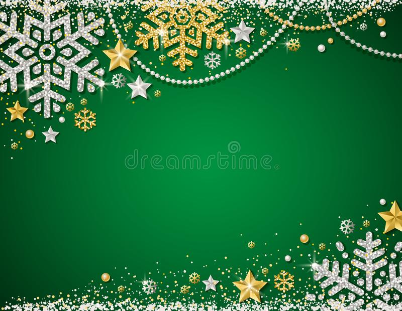 Green christmas background with frame of golden and silver glittering snowflakes, stars and garlands, vector. Illustration vector illustration