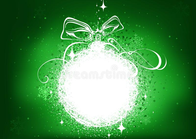 Green Christmas Background with Glowing Abstract Bauble vector illustration