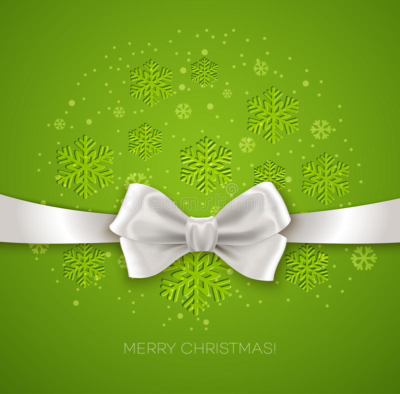 Green Christmas background ribbon with white silk. Blue Christmas background ribbon with white silk bow Vector illustration stock illustration