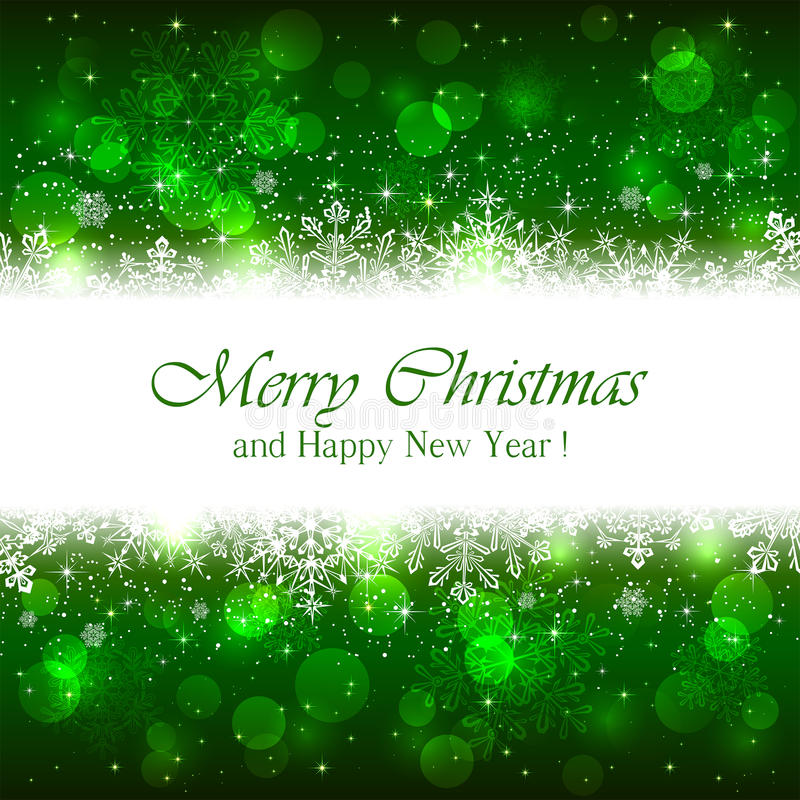 Green Christmas background with sparkle stars royalty free illustration