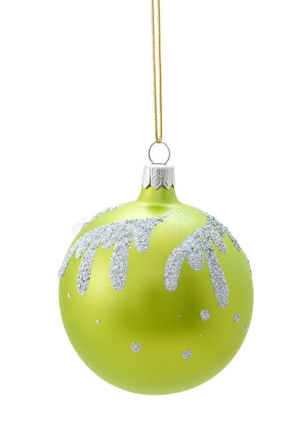 Green Christmas ball. With silver ornament stock image