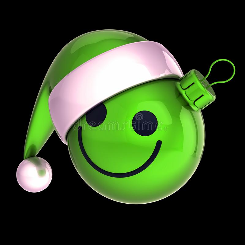 Green Christmas ball smiley face emoticon. New Years Eve bauble. Santa Claus hat cartoon decoration cute, cheerful funny character concept. 3d illustration royalty free stock images