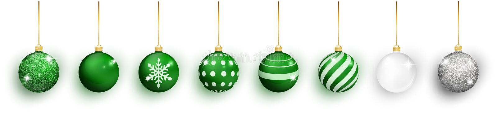 Green Christmas ball with snow effect set. Xmas glass ball on white background. Holiday decoration template. Green vector illustration