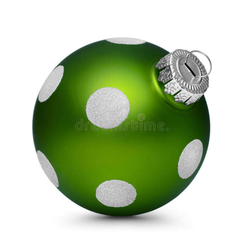 Green christmas ball with spots isolated on white background royalty free stock photos