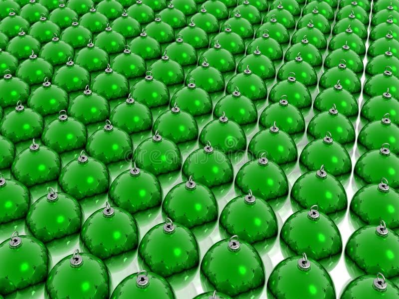 Green christmas balls. Many decoration green christmas balls stock illustration