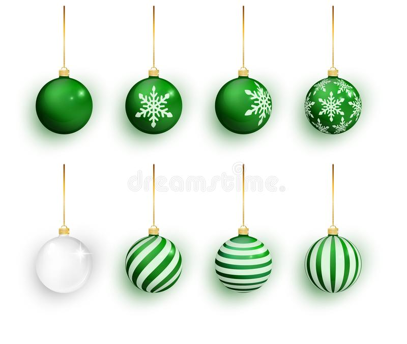 Green christmas balls set isolated on white. Stocking Christmas decorations. Green Christmas ball with snow effect set royalty free illustration