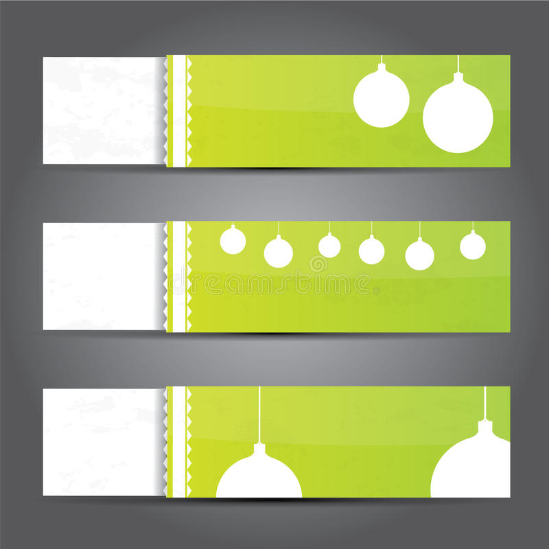 Free Green Christmas Banner Set Royalty Free Stock Photography - 28171977