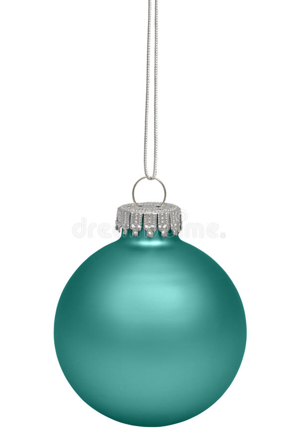 Green christmas bauble isolated on white royalty free stock photo