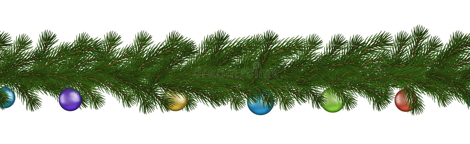 Green Christmas border of pine branch and ball, seamless vector isolated on white background. Xmas g royalty free illustration