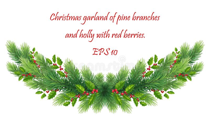 Christmas garland with Christmas tree branches, green holly leaves and red berries. divider, border for decorating sites, cards,. Green Christmas border of pine stock illustration