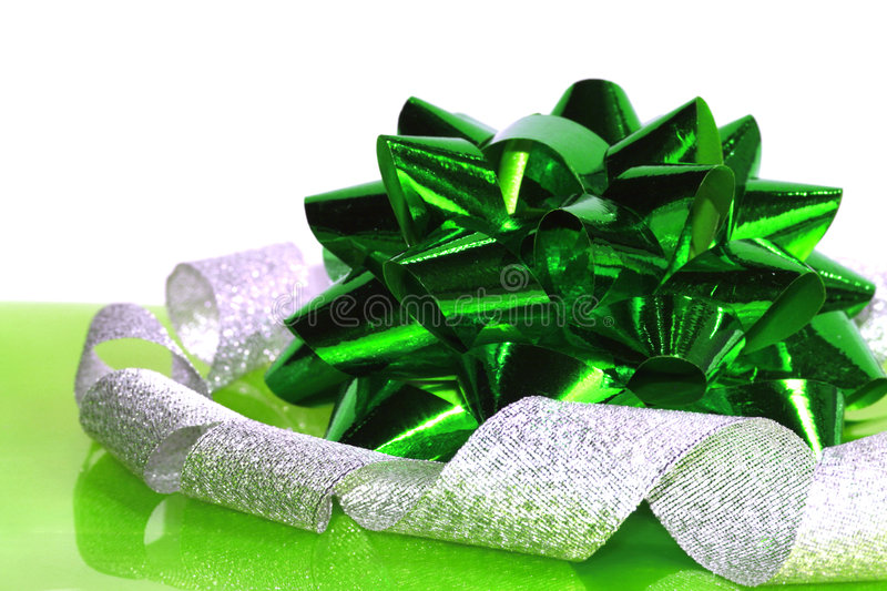 Green Christmas Bow Royalty Free Stock Photography