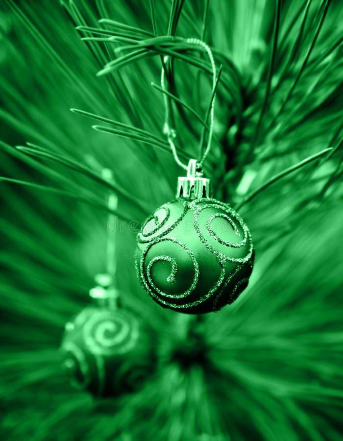 Green Christmas Bulbs royalty free stock images
