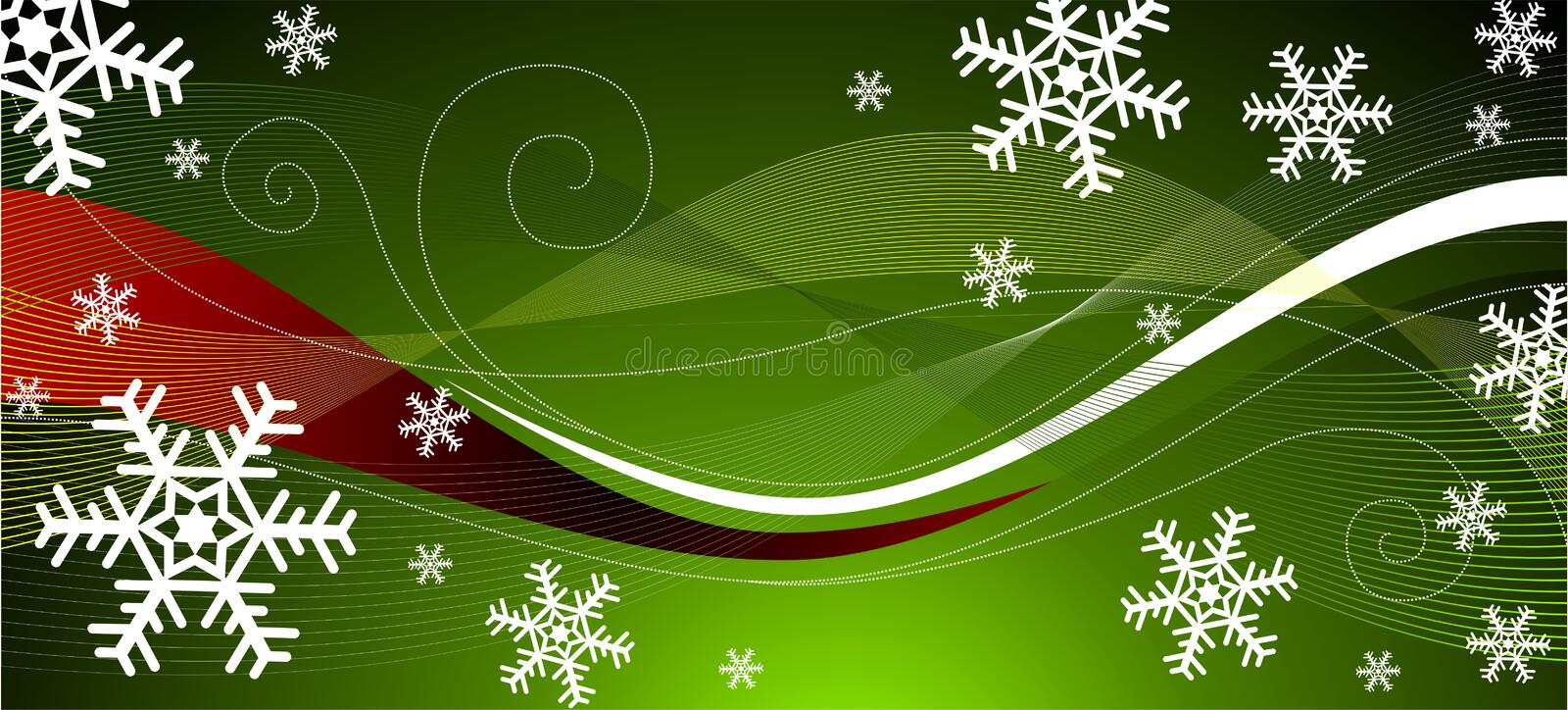 Green christmas decoration. Green background christmas postcard with snowflakes and wave stock illustration