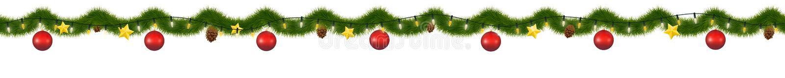 Green Christmas garland for decoration and web sites. vector illustration