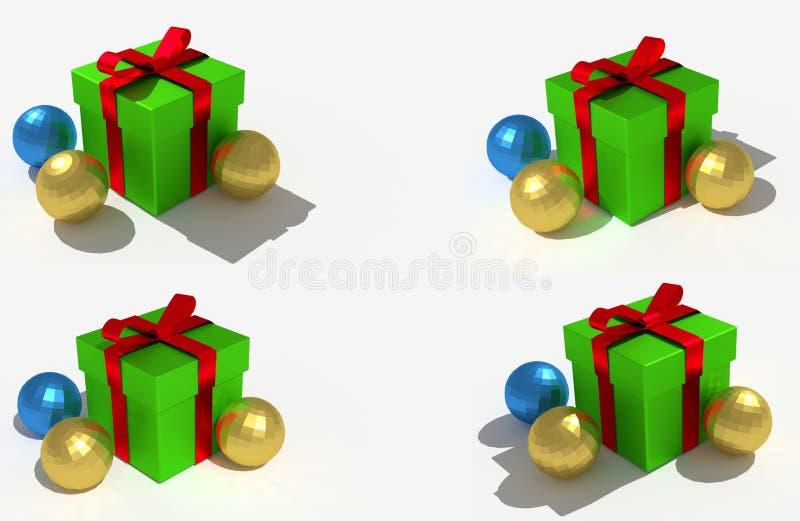 Green Christmas gift and shiny balls stock photo