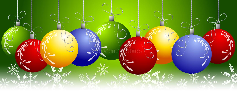Green Christmas Ornaments Border royalty free stock photos