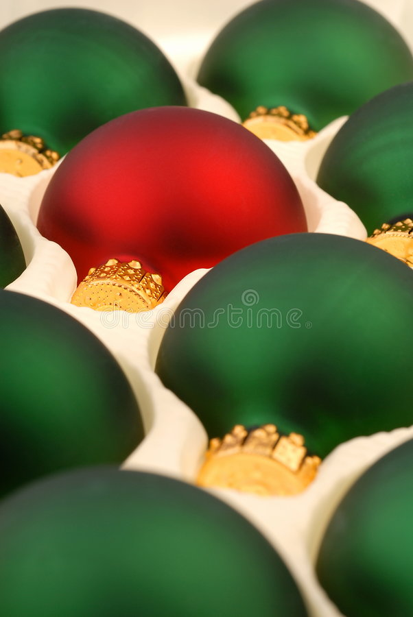 Download Green Christmas Ornaments With One Red Stock Image - Image of ornamental, bauble: 3699383
