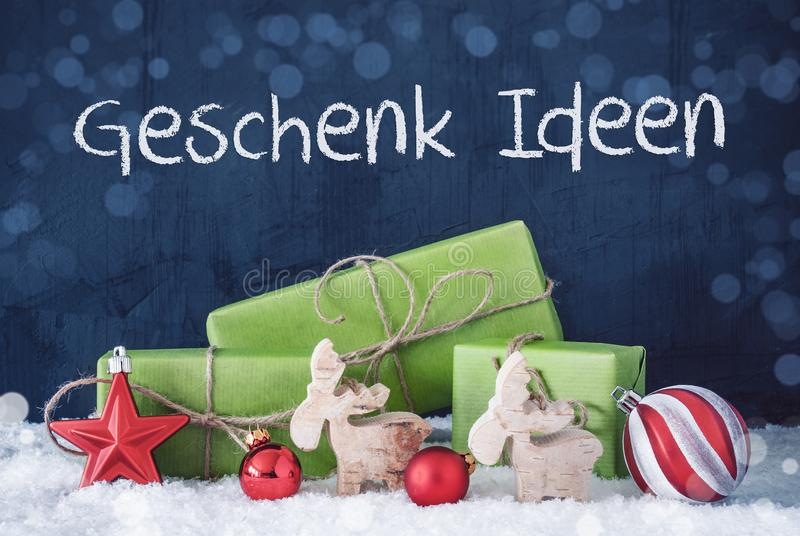 Green Christmas Presents, Snow, Geschenk Ideen Means Gift Idea royalty free stock images