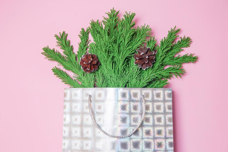 Green Christmas tree branches with cones in a gift bag on the pink background flat lay, top view. New Year`s decor in the form of royalty free stock photo