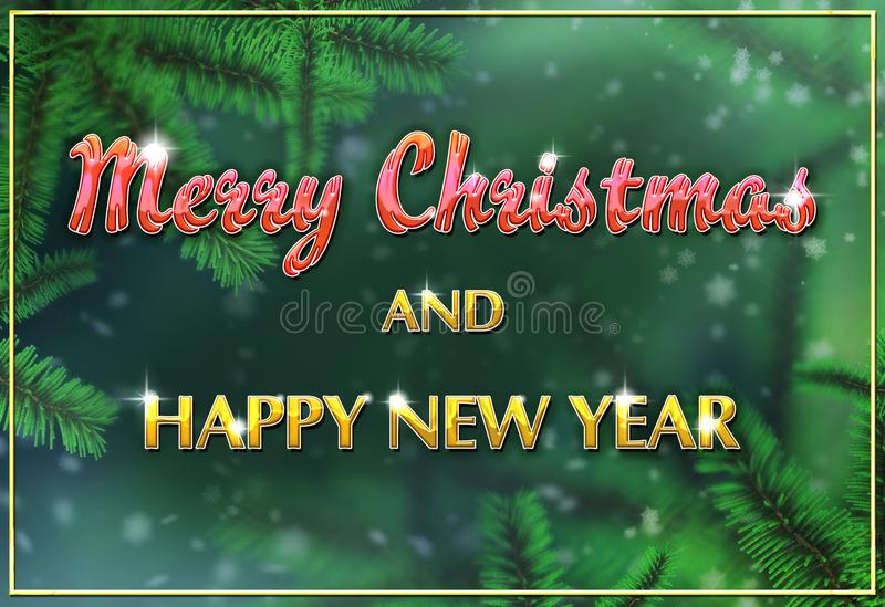 Green christmas tree branches multicolored Christmas greeting card with snowflakes falling from above. royalty free stock photos