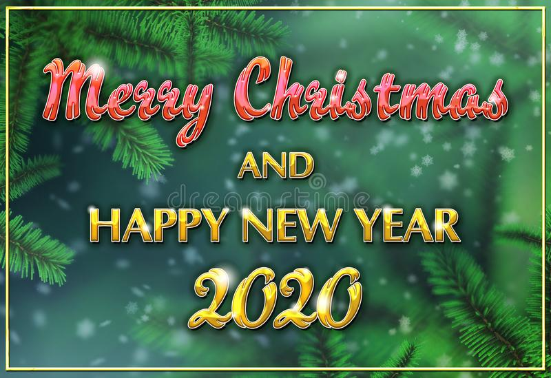 Green christmas tree branches multicolored Christmas greeting card with snowflakes falling from above. stock images