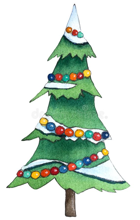 Christmas Tree With decorations. Hand drawn watercolor illustration. royalty free illustration