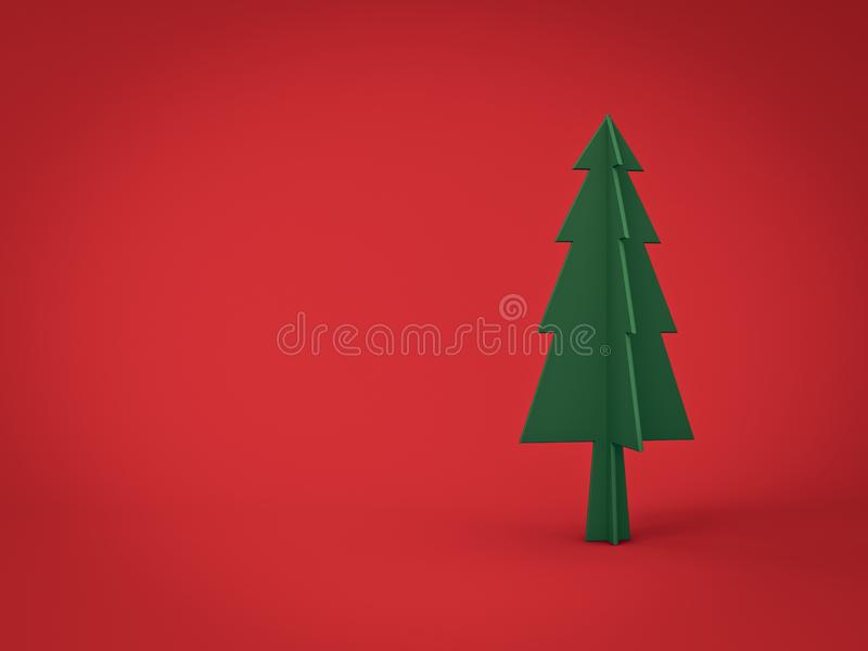 Green christmas tree on dark red background for christmas decoration with blank space stock photos