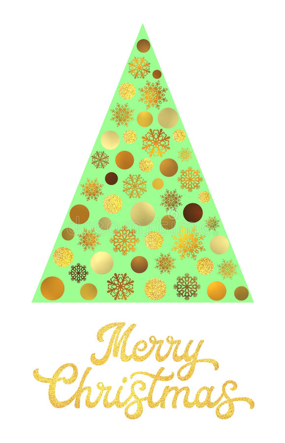 Green Christmas tree with gold glitter lettering. vector illustration