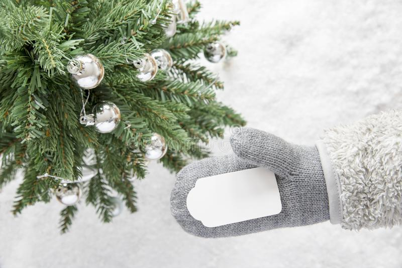 Green Christmas Tree, Gray Glove, Copy Space. Glove With Label With Copy Space For Advertisement. Green Christmas Tree With Silver Balls On Snow In Background royalty free stock photos