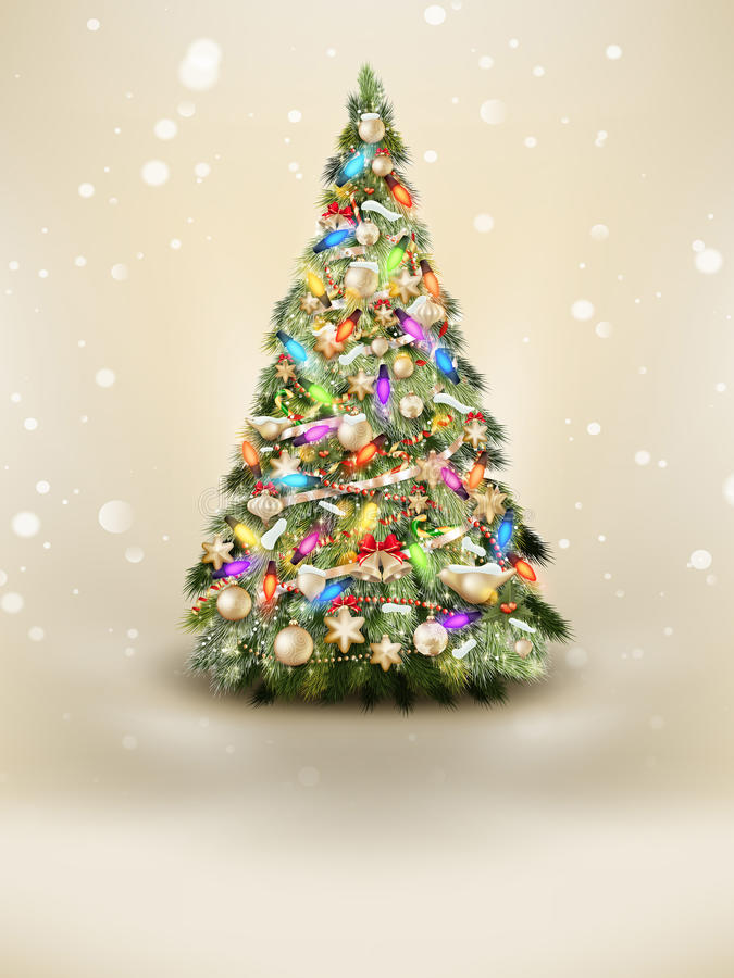 Free Green Christmas Tree On Beige Background. EPS 10 Royalty Free Stock Photography - 53732287