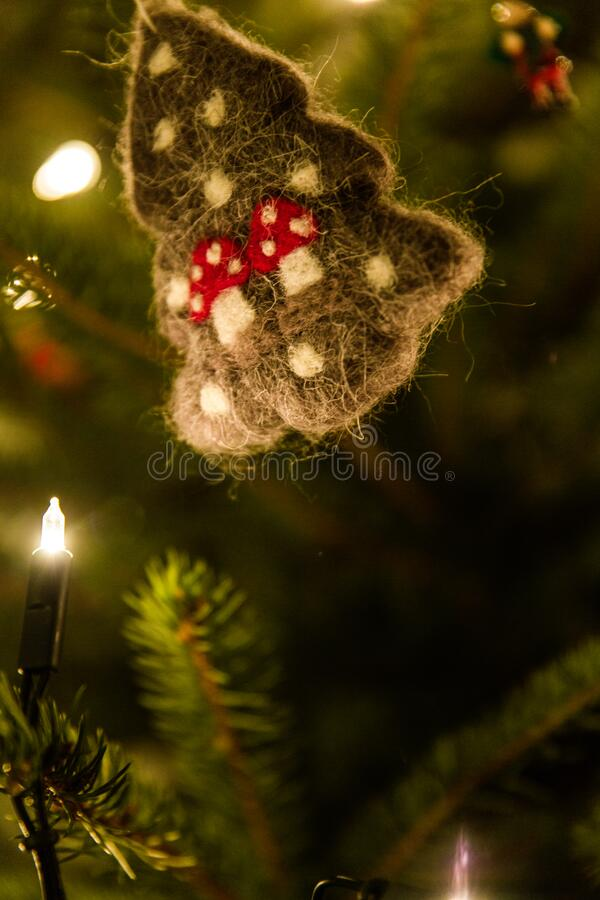 Green Christmas Tree Ornament With String Lights royalty free stock images