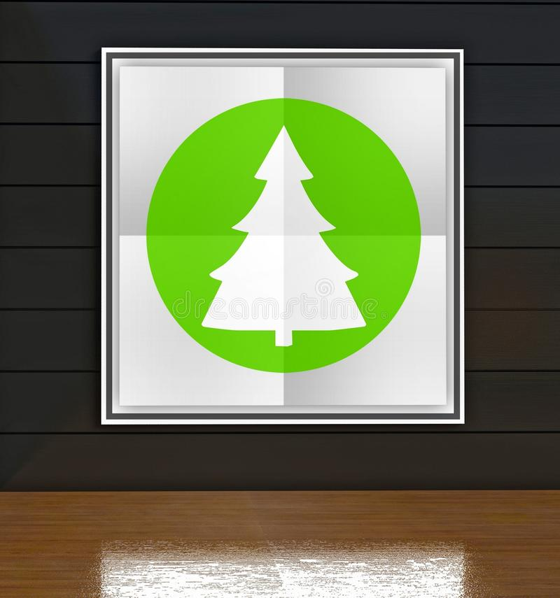 Green christmas tree poster in art gallery royalty free illustration