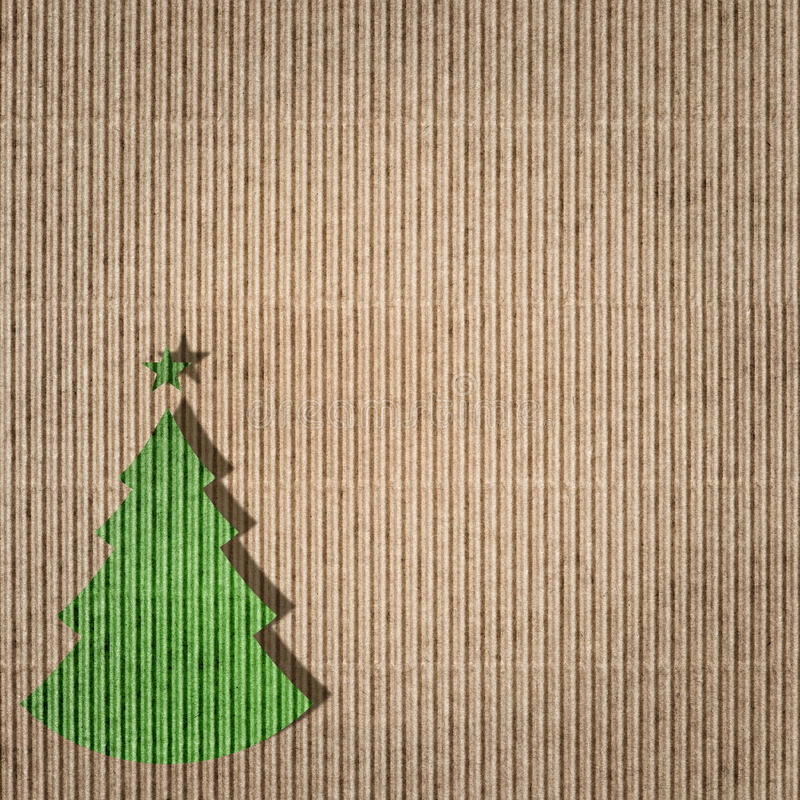 Green christmas tree on recycling paper. Environment concept vector illustration