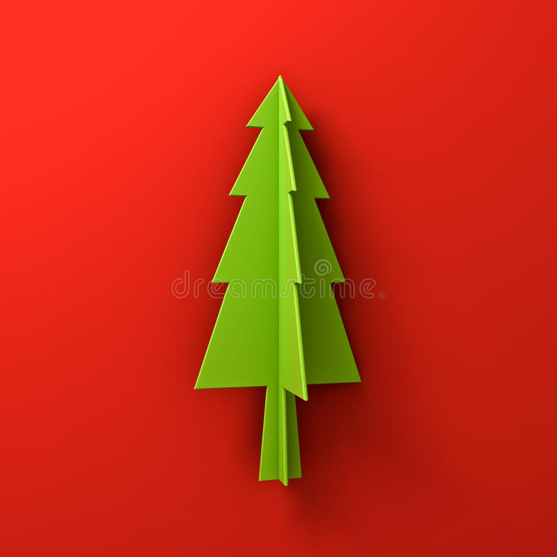 Green christmas tree on red background for christmas decoration with shadow. 3D rendering stock illustration