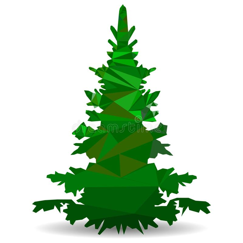 Green Christmas tree in the style of low poly, Close-up on a white background triangulation stock images