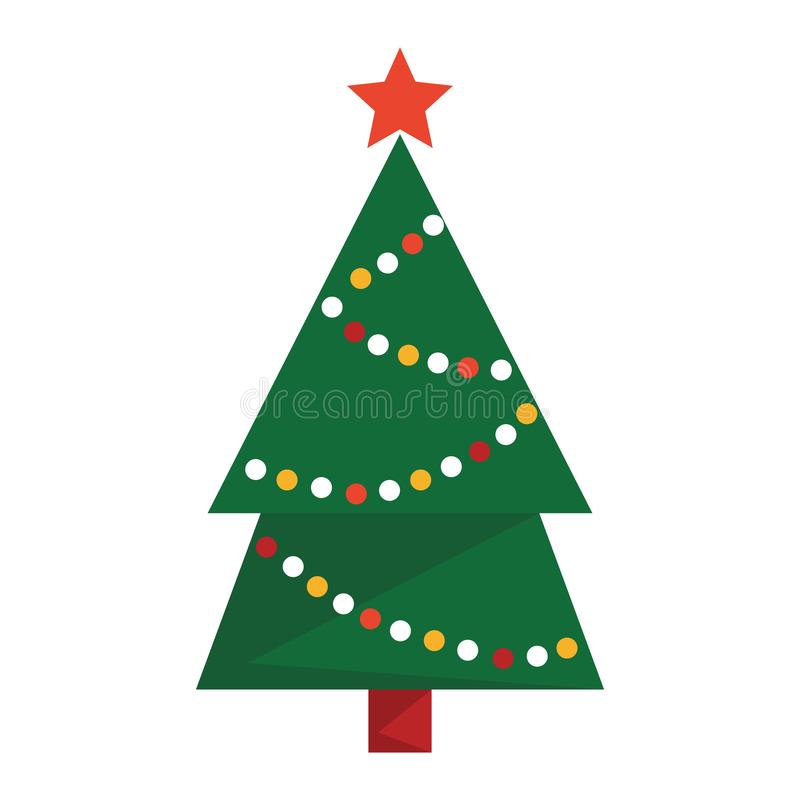 Green christmas tree vector isolated. Green fur with decoration royalty free illustration