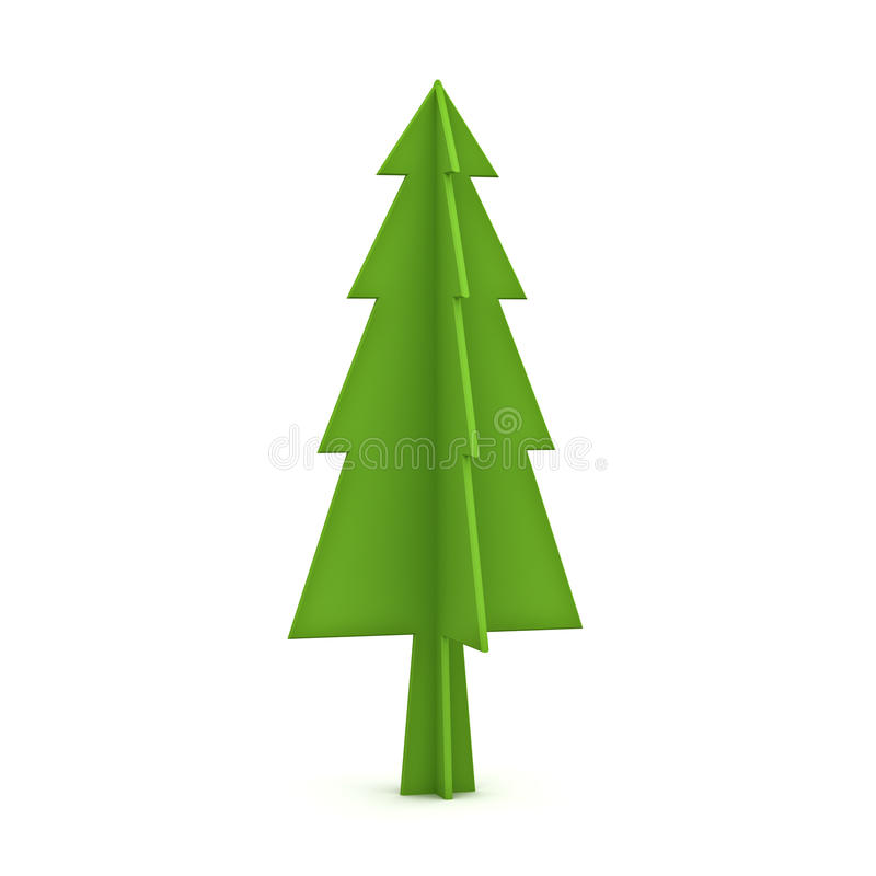 Green christmas tree on white background for christmas decoration. 3D rendering vector illustration