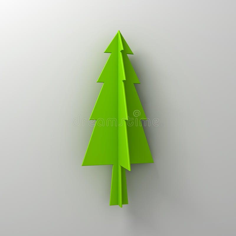 Green christmas tree on white background for christmas decoration with shadow. 3D rendering stock illustration