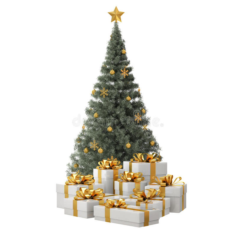Free Green Christmas Tree With Golden Gifts Royalty Free Stock Image - 54141086