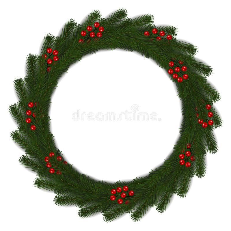 Green Christmas wreath with red berry vector isolated on white background. Xmas round garland decora royalty free illustration