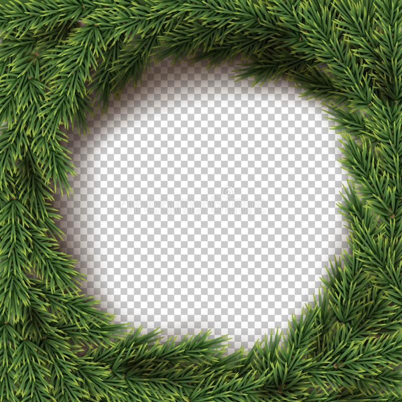 Free Green Christmas Wreath Transparent Background. Holly Fir Natural Circle Decoration. Realistic Merry Xmas, New Year Royalty Free Stock Photos - 196390598