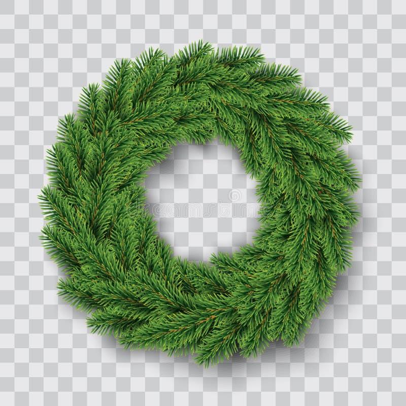 Green christmas wreath. Vector illustration stock illustration