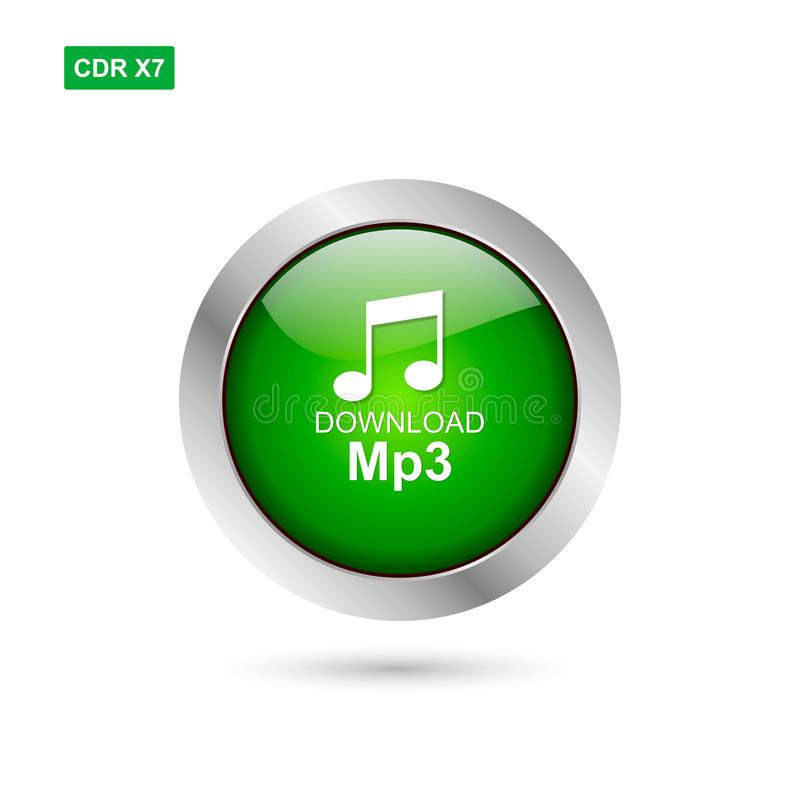 Green chrome glossy button mp3 download vector isoated vector illustration