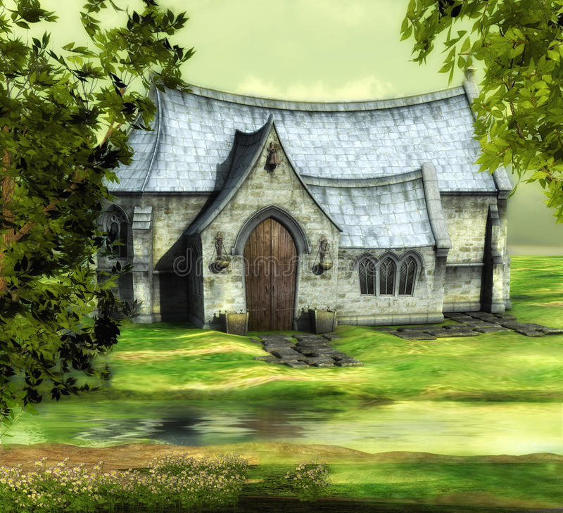 Download Green church stock illustration. Image of rendered, summer - 15978800
