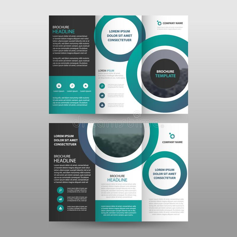 Green circle business trifold Flyer Leaflet Brochure report template vector minimal flat design set, abstract three fold. Presentation layout templates a4 size vector illustration