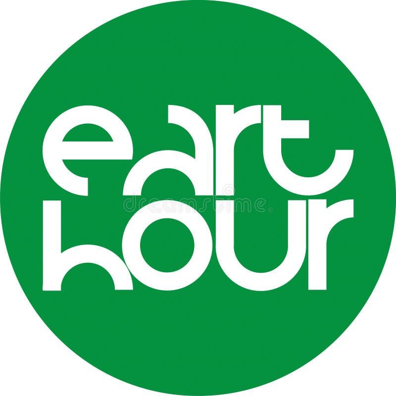 Green circle eart hour emblem stock photo
