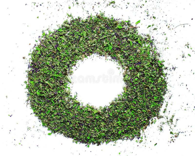 Green circle frame from dried up herb sage mint royalty free stock photo