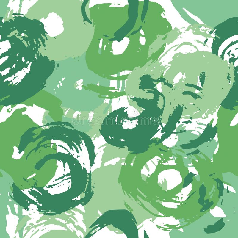 Green Circles Seamless Paint Strokes Pattern royalty free stock photography