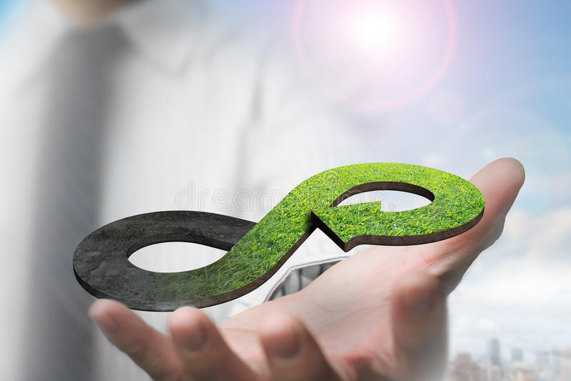 Green circular economy concept stock photography