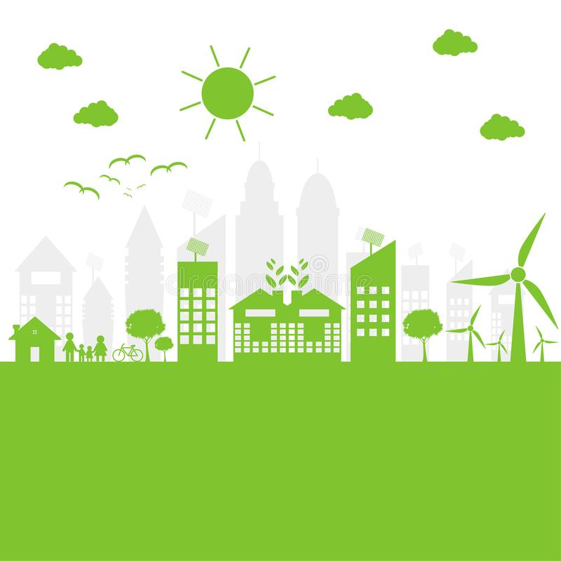 Green cities help the world with eco-friendly concept ideas. illustration. Green cities help the world with eco-friendly concept ideas royalty free illustration